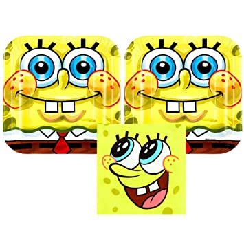 Amazon.com: Bob Esponja Party Pack para 16 huéspedes – 16 ...