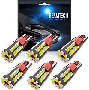 BEAMTECH 194 LED Bulb,57-SMD 3014 Chipsets T10 Wedge W5W 2825 158 161 168 184 Canbus Non-Polarity Error Free Dome Map Door Courtesy License Plate Replacement Bulbs Xenon White(6 PCS)