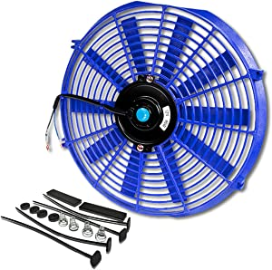 (Pack of 1) 14 Inch High Performance 12V Electric Slim Radiator Cooling Fan w/Mounting Kit - Blue