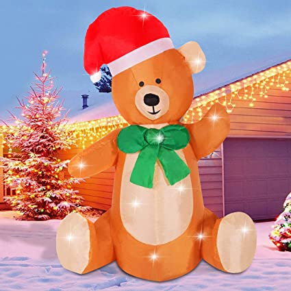 promo code 14f75 8f6cc Fanshunlite Christmas Inflatable 4FT Bear Lighted Blow-Up Yard Party  Decoration for Xmas Airblown Inflatable Outdoor Indoor Home Garden Family  Prop ...