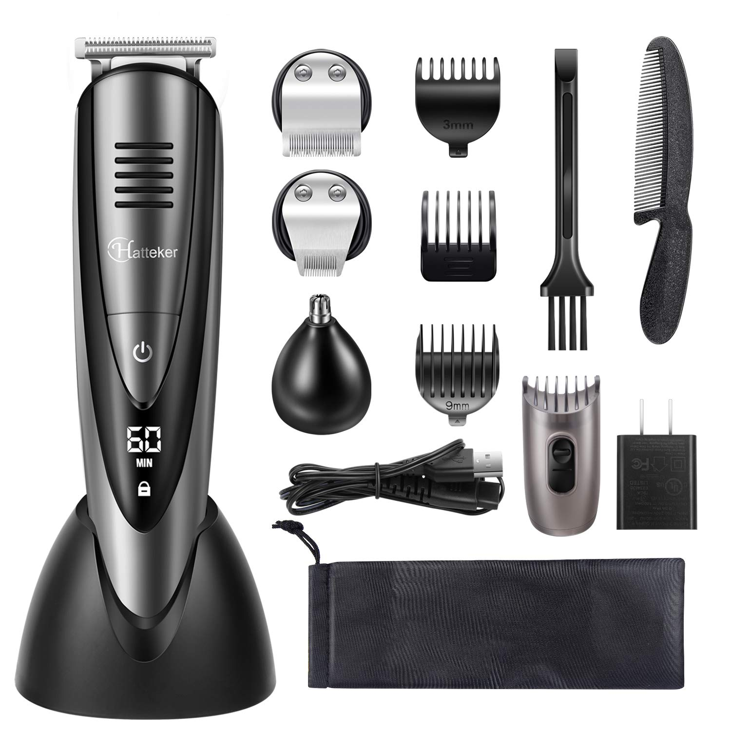 Hatteker Mens Beard Trimmer Grooming Kit Cordless Mustache Trimmer Hair Trimmer Clippers Ear Nose Trimmer Waterproof 4 in 1 USB Rechargeable