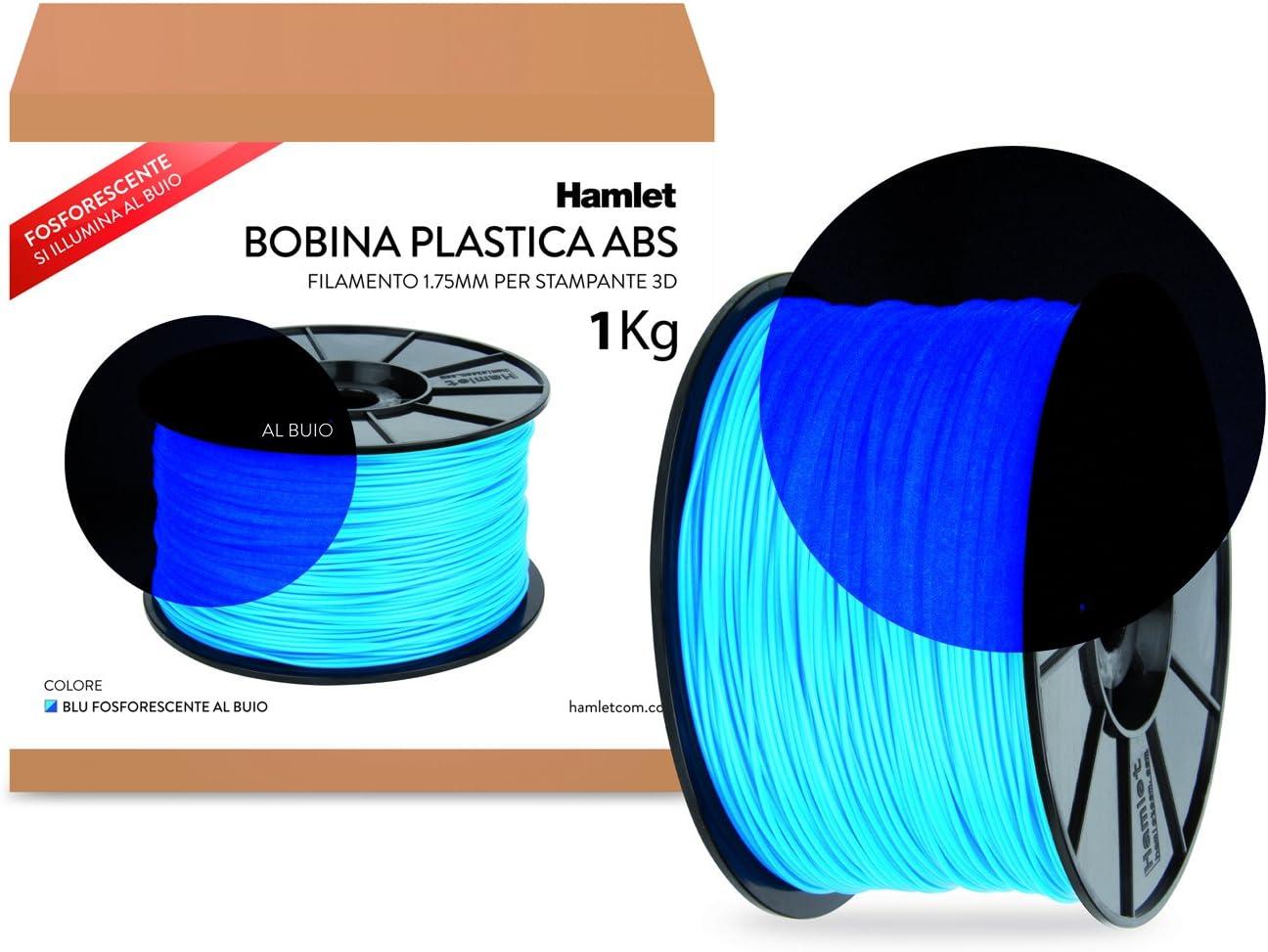 Hamlet Bobina di filamento per stampanti 3D 3DX100 in ABS Blu fosforescente al buio da 1kg