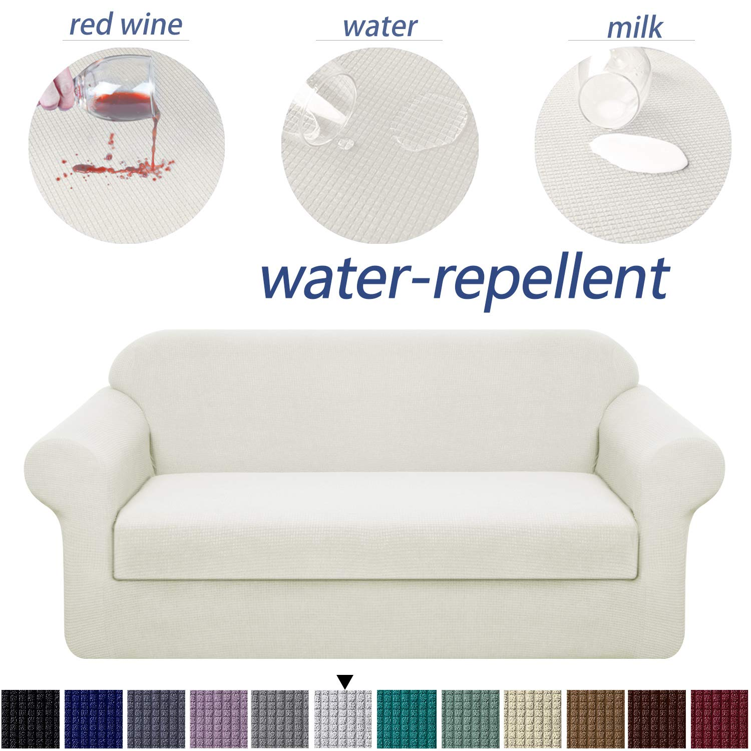 Granbest Stretch Sofa Slipcovers 3 Cushion Couch Covers Water-Repellent Pet Furniture Covers Dog Couch Protectors (Creamy White, Loveseat-2 Pieces)