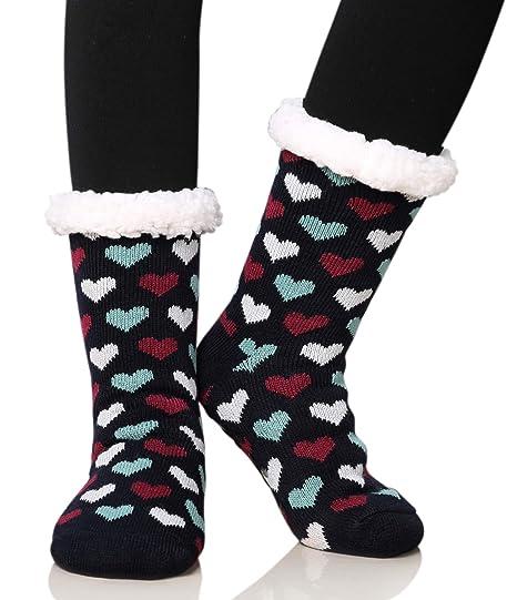 beb0e0ab1cc Dosoni Women s Fleece Lining Fuzzy Soft Christmas Knee Highs Stockings  Slipper Socks (Heart Black)