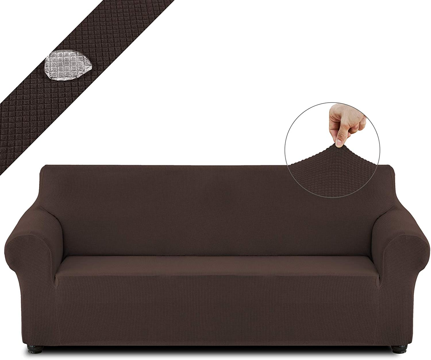 Cristgee Water Repellent Sofa Slipcover, Stretch Oversized Couch Cover, Washable Waffle Furniture Protector with Elastic Bottom & Non-Skid Foam, for Kids & Pets (Oversized Sofa, Chocolate)