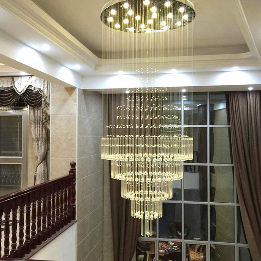 Moooni Large Modern Luxury Crystal Chandelier Raindrop Flush Mount Ceiling Light Fixture for Lobby Porch Living Room D 47.3 x 118 H