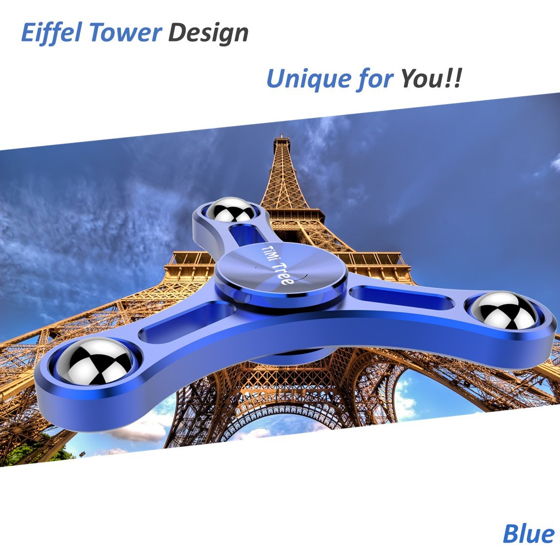 TiMi Tree Fidget Spinner Blue Pro Metal Series Aluminum Figit Toy Finger Focus Hand Busy Toy Fast Long Spin Stainless Steel Ball Bearing for EDC ADHD Anxiety Autism Boredom