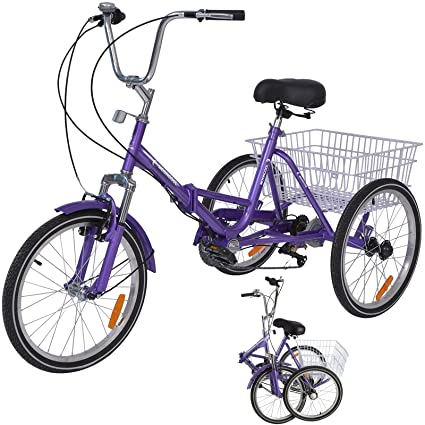 Childrens Teenagers Mens Womens Cruiser Bicycles H/&ZT Tricycle 1-Speed Trike Cruiser Bike 3 Wheeled Bicycle w//Large Basket and Maintenance Tools
