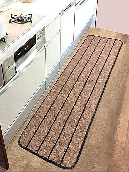 Saral Home Premium Quality Anti Slip Polyester Kitchen Runner- 40x120 cm, Brown