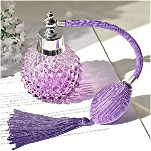 H&D Empty Crystal Vintage Perfume Replacement Spray Bottle Atomizer Luxury Series (purple)