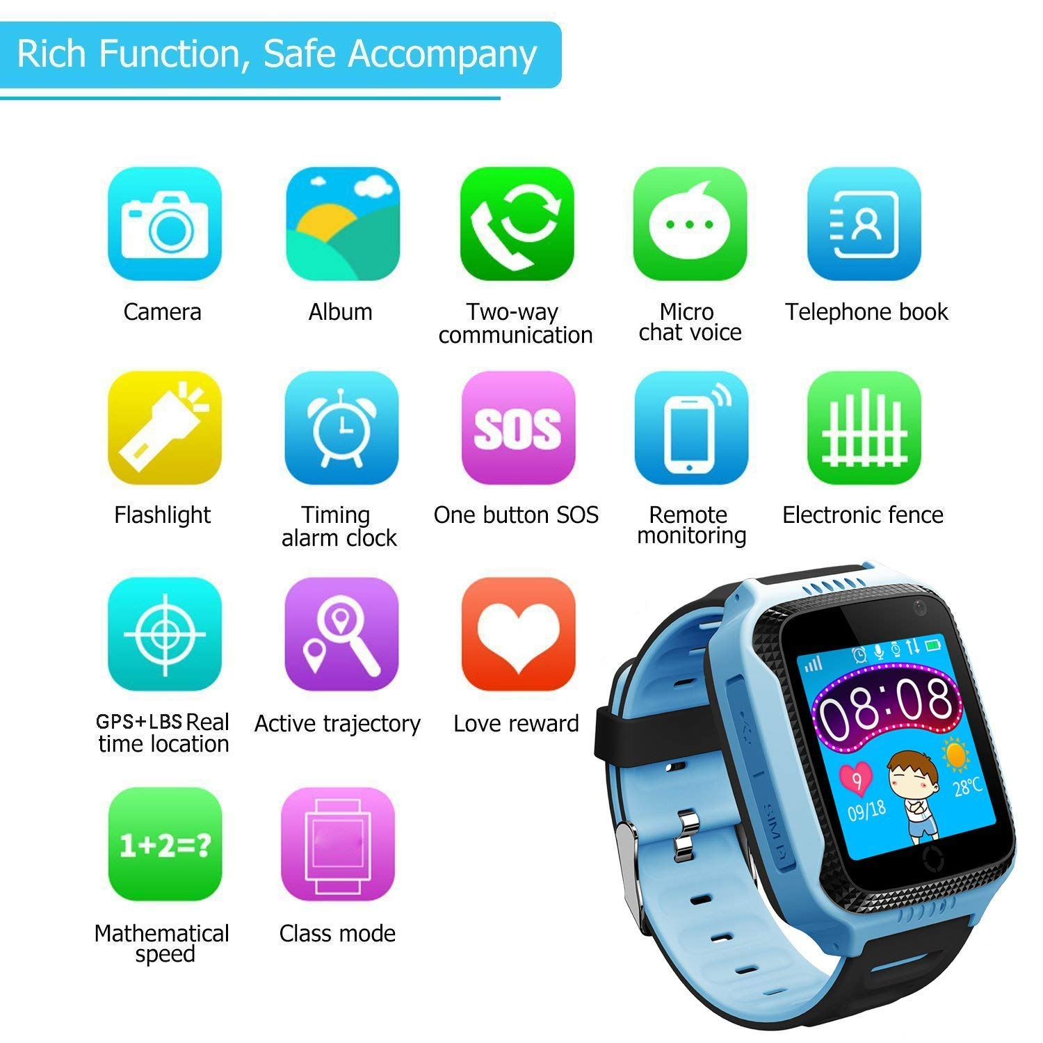 Kids Smartwatches for Boys Girls - GPS Fitness Tracker Watch for Children with Game Phone SOS Voice Chat Alarm Clock Camera Flashlight Children ...