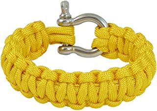 Extérieur en acier inoxydable manille Cobra Weave Yellow Survival Bracelet