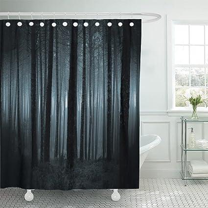 Amazon Emvency Shower Curtain Blue Spooky And Dark Foggy Forest