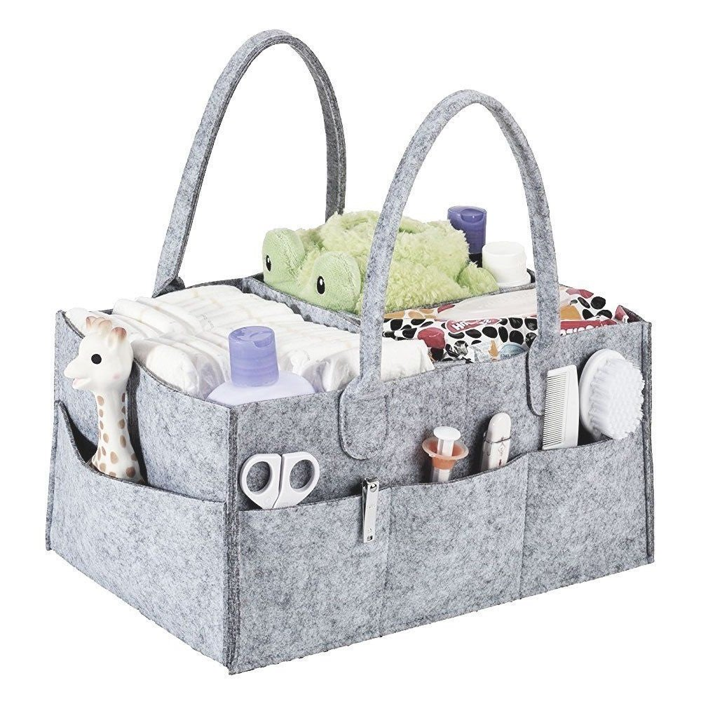 Alexbasic Baby Diaper Caddy, Nursery Felt Storage Changing Table Diaper Baby Wipes Tote Bag Large Portable Car Travel Organizer Newborn Baby Boy Girl Shower Gift Basket, Grey