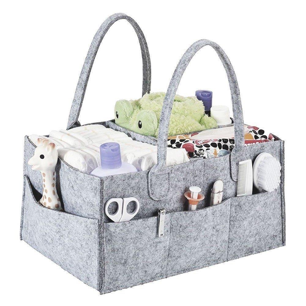 Alexbasic Baby Diaper Caddy, Nursery Felt Storage Changing Table Diaper Baby Wipes Tote Bag Large Portable Car Travel Organizer Newborn Baby Boy Girl Shower Gift Basket, Grey