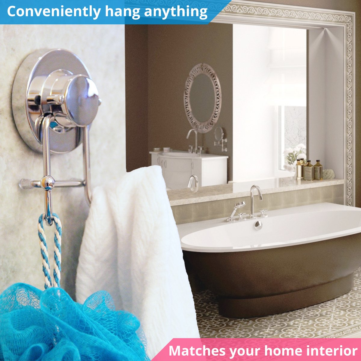 HOME SO Towel Hook with Suction Cup Holder - Bathroom Shower Kitchen Removable Hooks Hanger for Bath robe, Towels, Coat, Loofah - Stainless Steel, Chrome by HOME SO (Image #2)