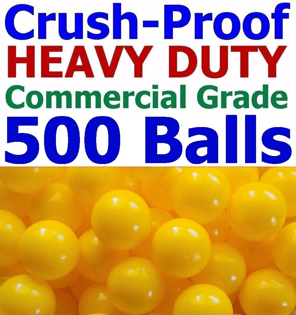 My Balls Pack of 500 Jumbo 3'' Yellow Color Commercial Grade Ball Pit Balls - Air-Filled Crush-Proof Phthalate Free BPA Free PVC Free Non-Toxic Non-Recycled Plastic