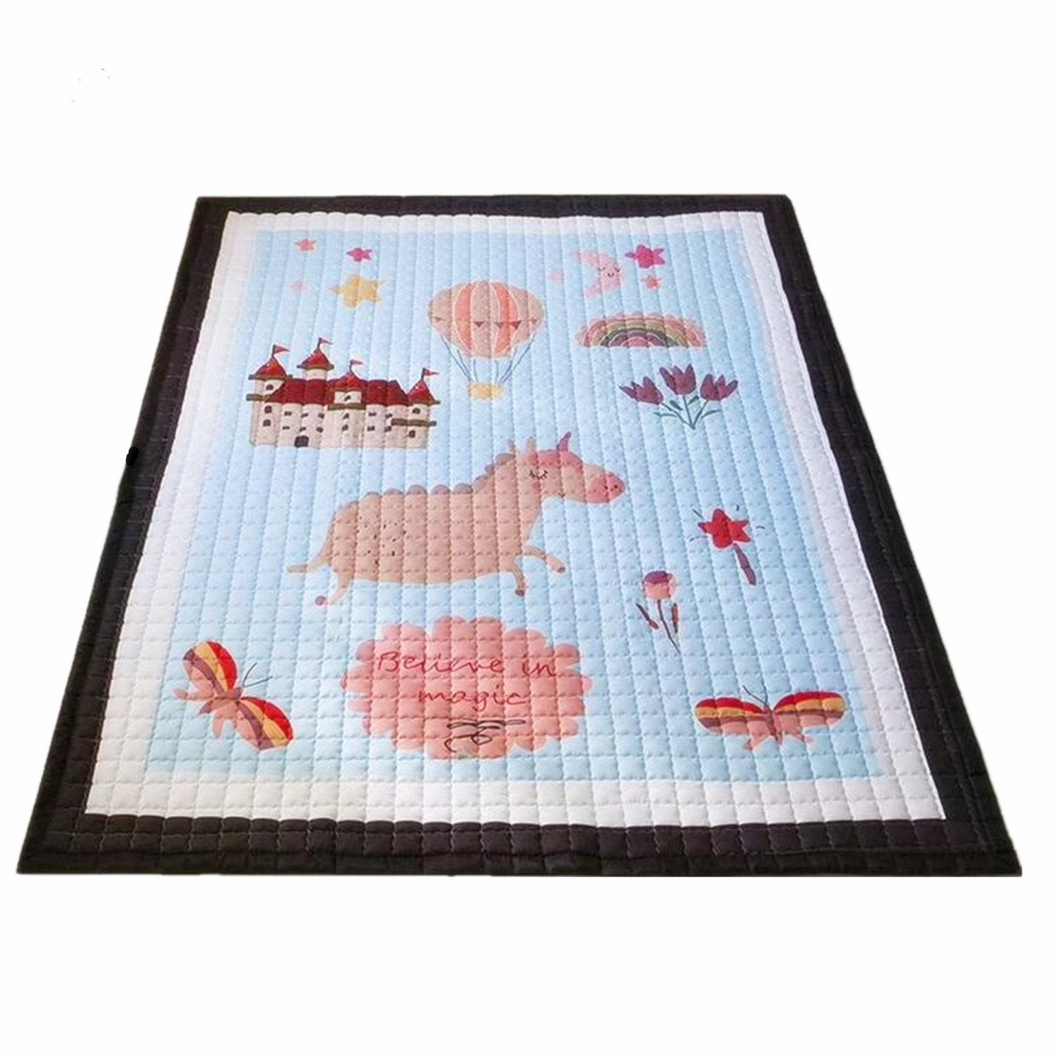 Super Large Baby Kids Cotton Rugs Nursery Room Animal Pattern Carpets Play Mats 1.95*1.45 Meter (Rainbow Unicorn) MJTP