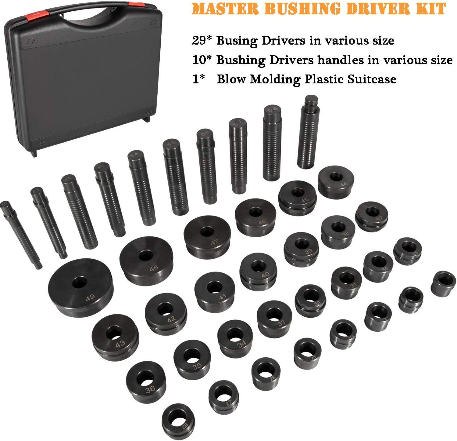 Bushing Bearing Seal Installer Remover Tool Set Sunluway T-0220-39 Master Bushing Driver Set 39pcs fit for Chrysler,GM Ford,Transmissions