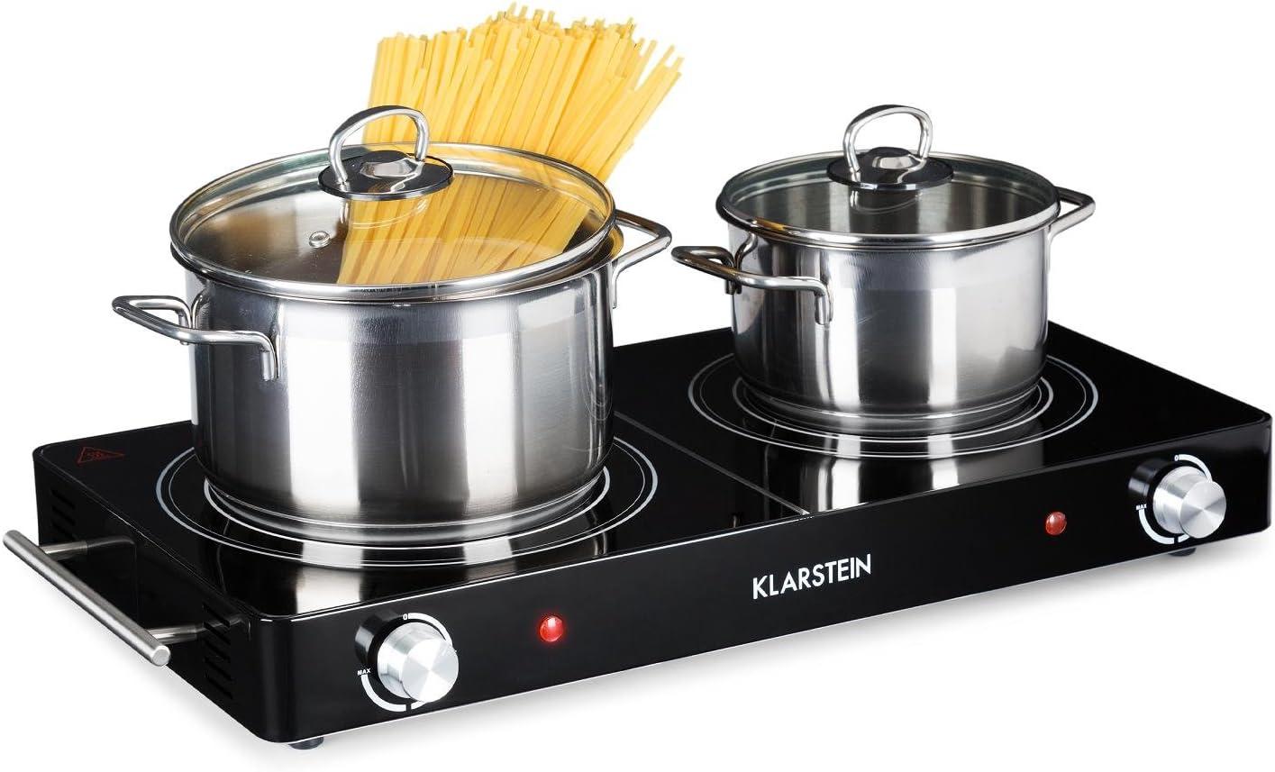Klarstein VariCook Duo - Placa de cocina, Hornillo eléctrico, Cocina eléctrica, Potencia 3000W, Cocción por infrarrojos, Radiador halógeno, Fogones de 20 y 16,5cm, Acero inoxidable, Negro
