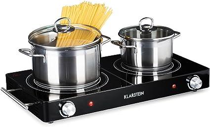 Klarstein VariCook Duo - Placa de cocina, Hornillo eléctrico, Cocina eléctrica, Potencia 3000W, Cocción por infrarrojos, Radiador halógeno, Fogones de ...