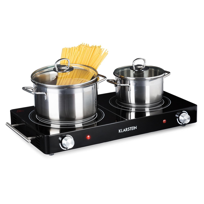 Klarstein VariCook Duo • Placa de cocina • Hornillo eléctrico • Cocina eléctrica • Potencia 3000W • Cocción por infrarrojos • Radiador halógeno • Fogones de ...