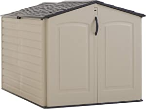Rubbermaid Roughneck Storage Shed, Slide-Lid Faint Maple and Brown
