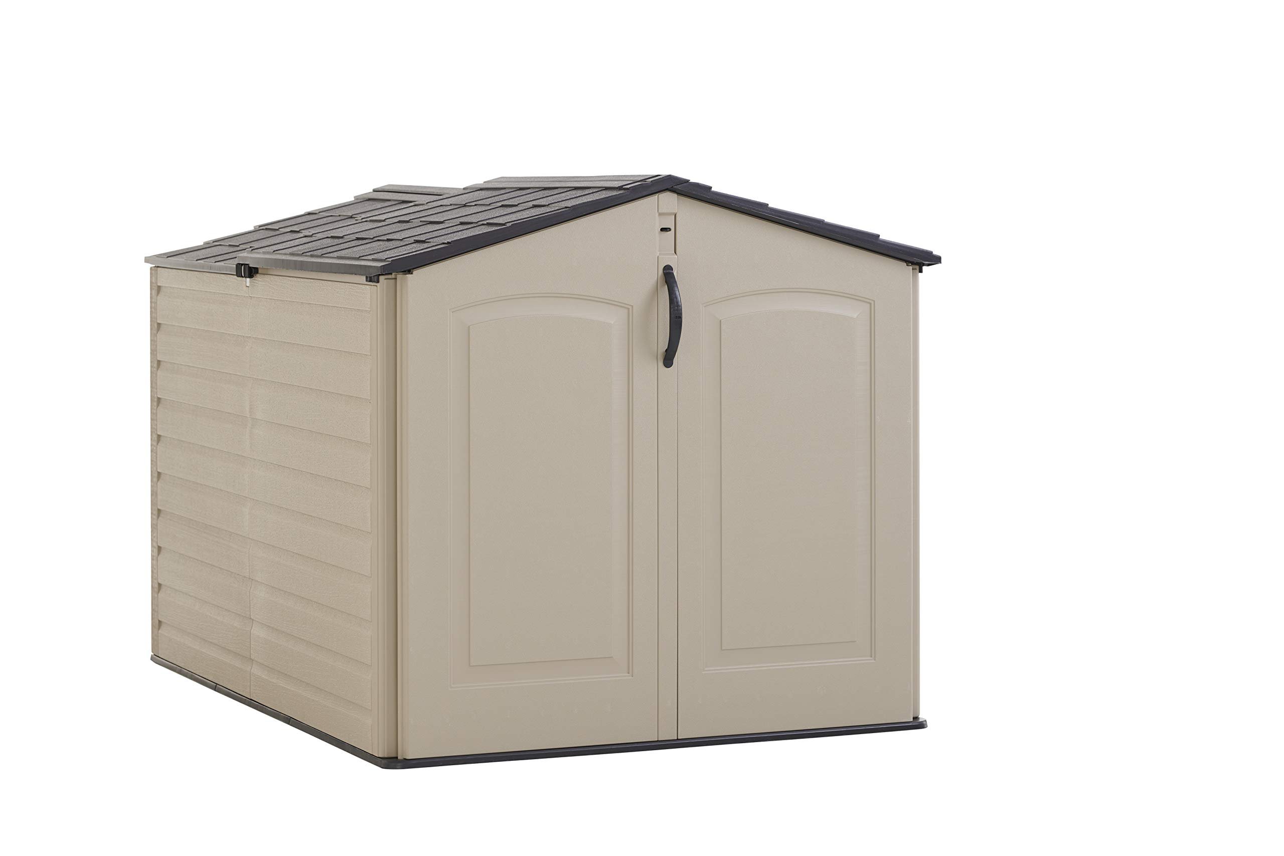 Rubbermaid Roughneck Storage Shed, Slide-Lid, Faint Maple and Brown