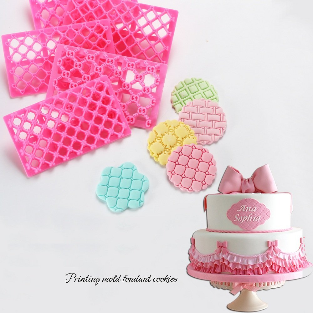 Cake Fondant Embossing Mould,9 Pack Different Patterns Fondant Embosser,Lace Flower Cookie Cutter Set,Diamond Shaped Biscuit Molds,Cake Fondant CupCake Decorating by Mity rain (Image #5)