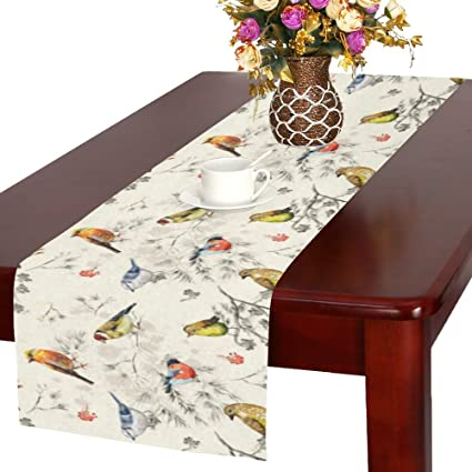 Marvelous InterestPrint Vintage Little Bird On Tree Branch Polyester Table Runner 16  X 72 Inches, Watercolor