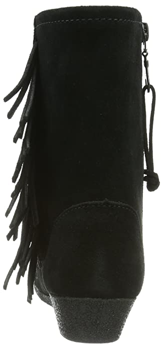 Side Fringe Wedge Boot, Womens Unlined Moccasin Boots Half Shaft Boots and Bootees Minnetonka
