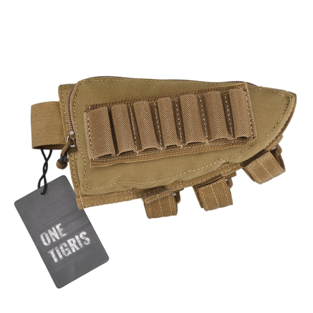OneTigris Tactical Buttstock Shotgun Rifle Shell Holder Cheek Rest Pouch (Tan) by OneTigris