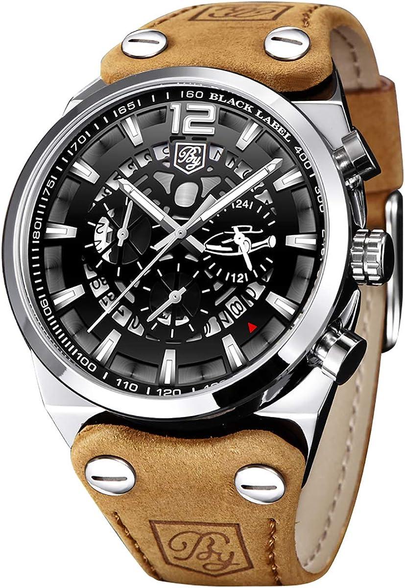 BY BENYAR - Reloj de Pulsera para Hombre con cronógrafo Militar Cuarzo Esfera con Esqueleto Grande Resistente al Agua