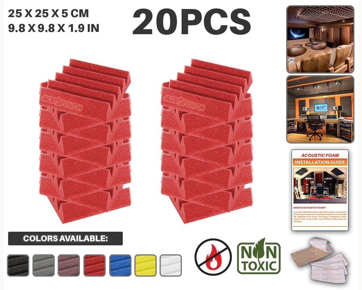 Ace Punch 20 piezas NEGRO Cuña Studio Foam Panel Aislamiento Acústico Tratamiento Espuma Acústica con lengüetas de montaje libre 25 x 25 x 5 cm AP1134