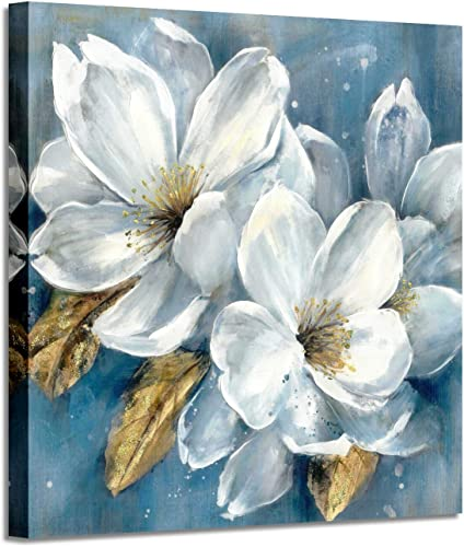 Abstract Floral Artwork Canvas Painting White Flower Bloom Picture Wall Art for Bedroom 36 x 36 x 1 Panel