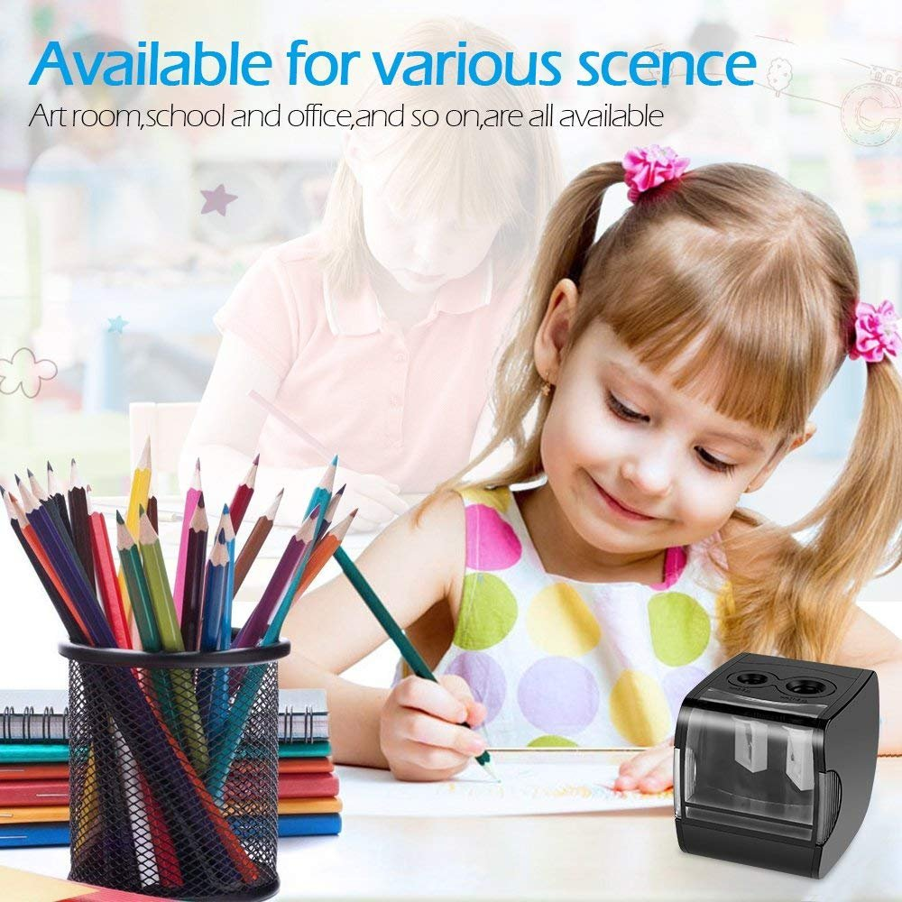 Electric Pencil Sharpener, AOFU USB Double Hole Battery Operated Heavy Duty Sharpener for kids, School and Office (Black)-003 by AOFU (Image #5)