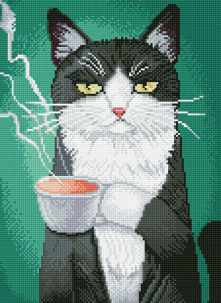 16x20 Cat and Coffee Cup 5D Diamond Painting Kits Full Round DIY Cross Stitch Pattern Rhinestone Embroidery Kits Arts Craft Wall Sticker