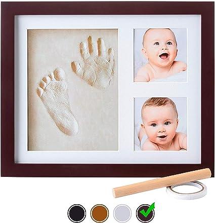 /'blue gingham/' clay gift set-baby handprint footprint,imprint kit,frame.casting