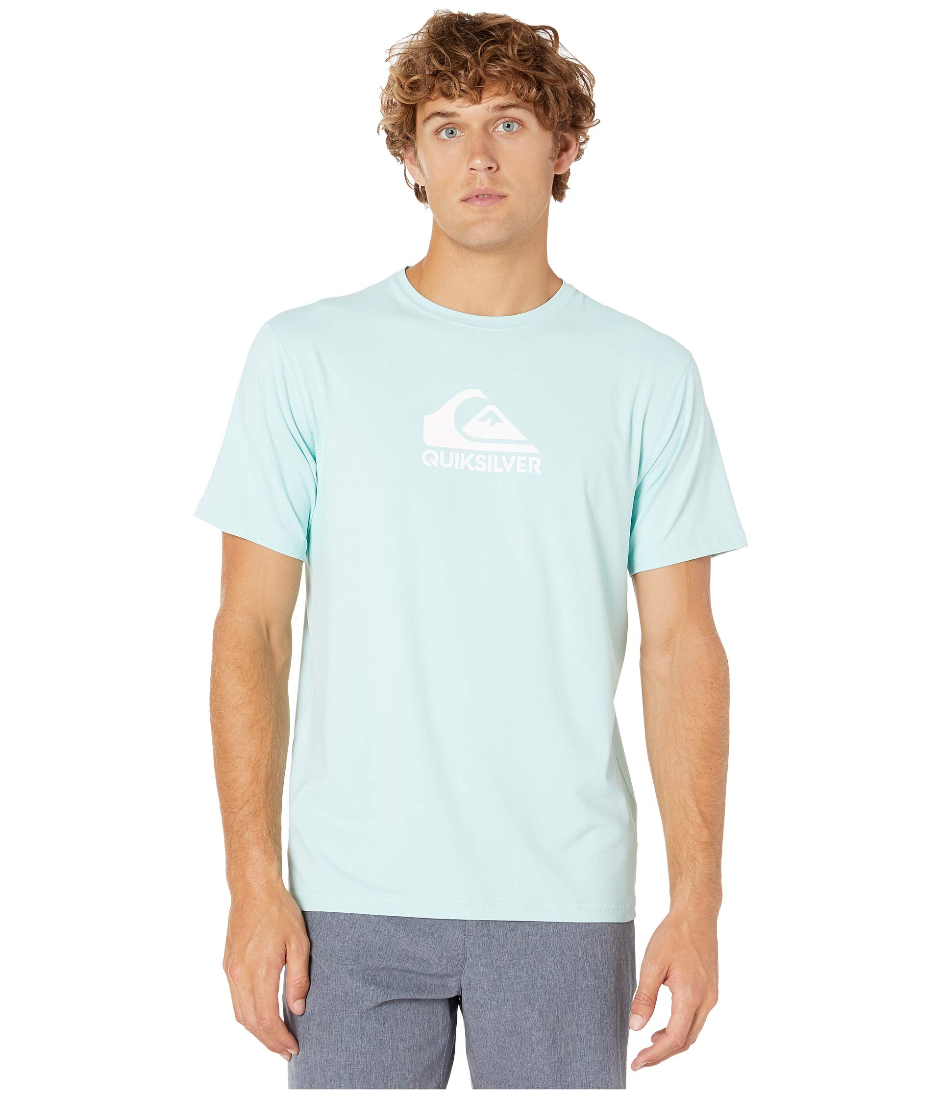 Quiksilver Men's Solid Streak Short Sleeve Rashguard Pastel Turquoise Small