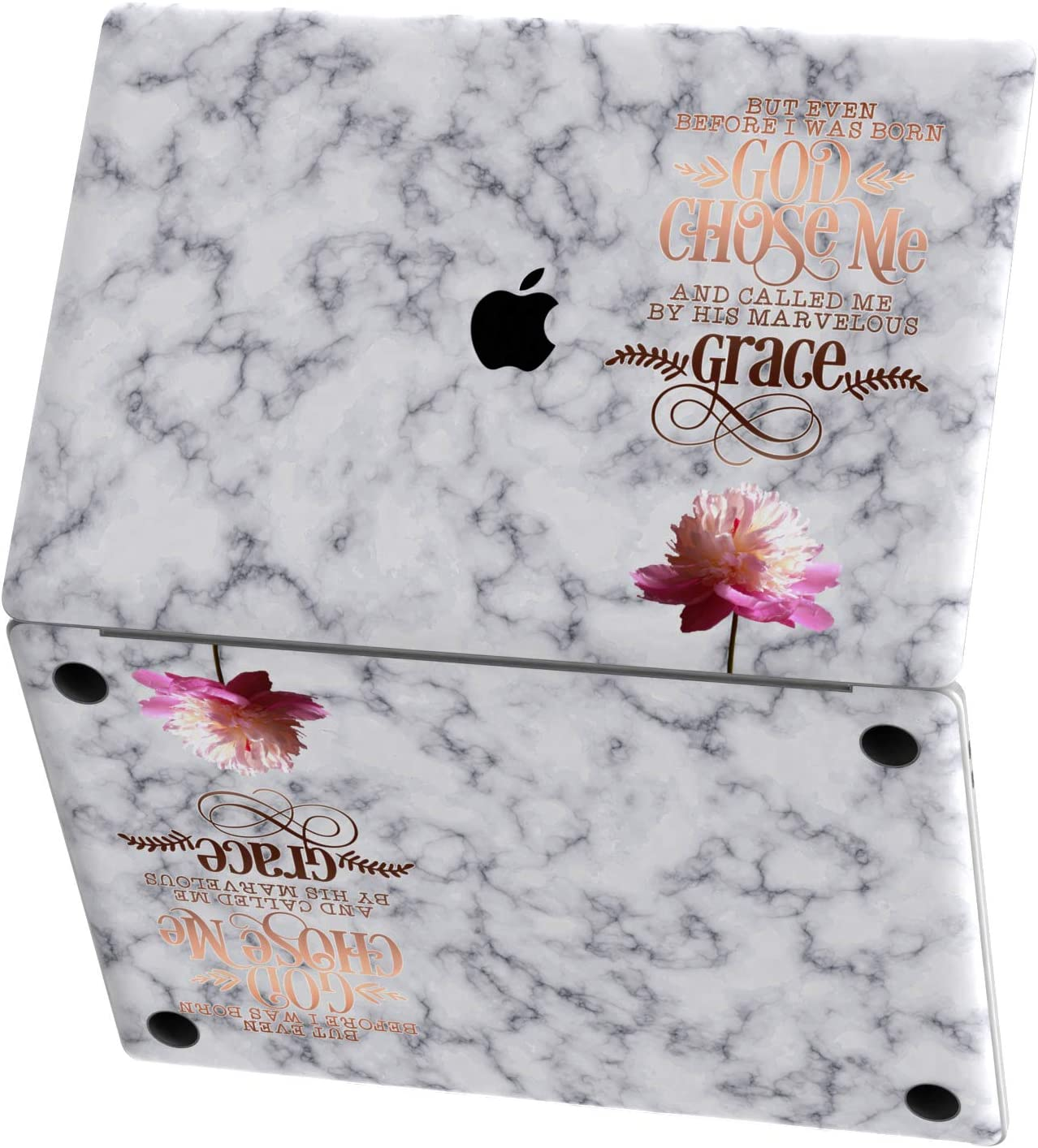 Mertak Vinyl Skin for Apple MacBook Air 13 inch Mac Pro 16 15 Retina 12 11 2020 2019 2018 2017 Galatians 1:15 Print Christian Bible Verse Quote Top Laptop Trackpad Cover Marble Touch Bar Gold Keyboard