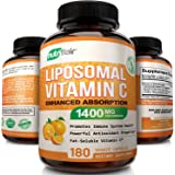 NutriFlair Liposomal Vitamin C 1400mg, 180 Capsules - High Absorption, Fat Soluble VIT C, Antioxidant Supplement, Higher Bioavailability Immune System Support & Collagen Booster, Non-GMO, Vegan Pills