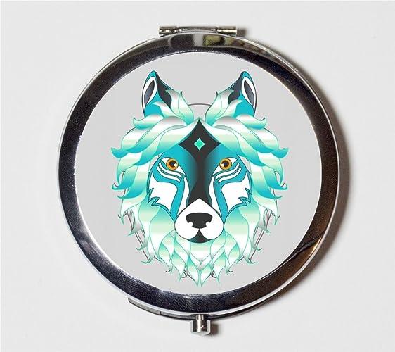 Amazon com: Wolf Spirit Animal Compact Mirror Trippy Psychedelic