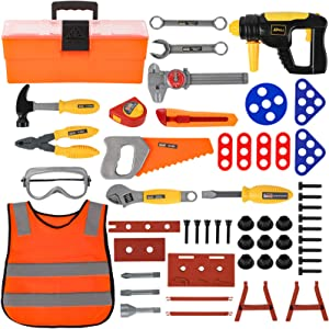 Liberry Durable Kids Tool Set, 53 Pieces Pretend Play Educational Toy Tools, Tool Playset with Construction Costume and Electric Drill, Play Tools Gift for Toddler Boys Girls (2021 Version)