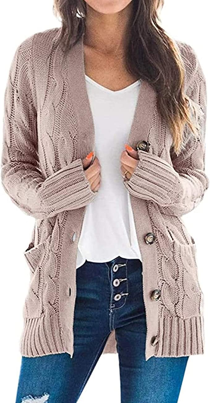 S.Charma Women Open Front Cardigan Sweaters Loose Long Sleeve Knit Button Outerwear with Pockets