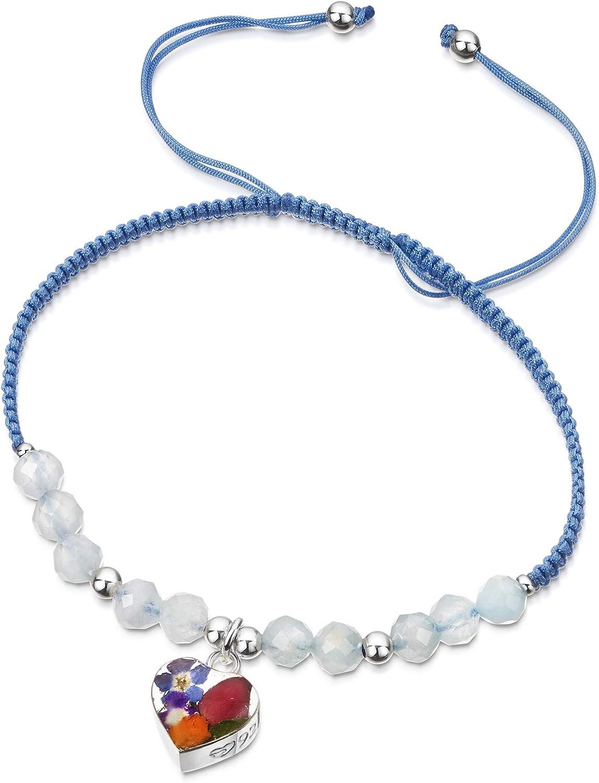 Shrieking Violet® - Pulsera de piedras preciosas de color azul claro con cuentas de aguamarina - Corazón de plata de ley con flores reales - Talla única