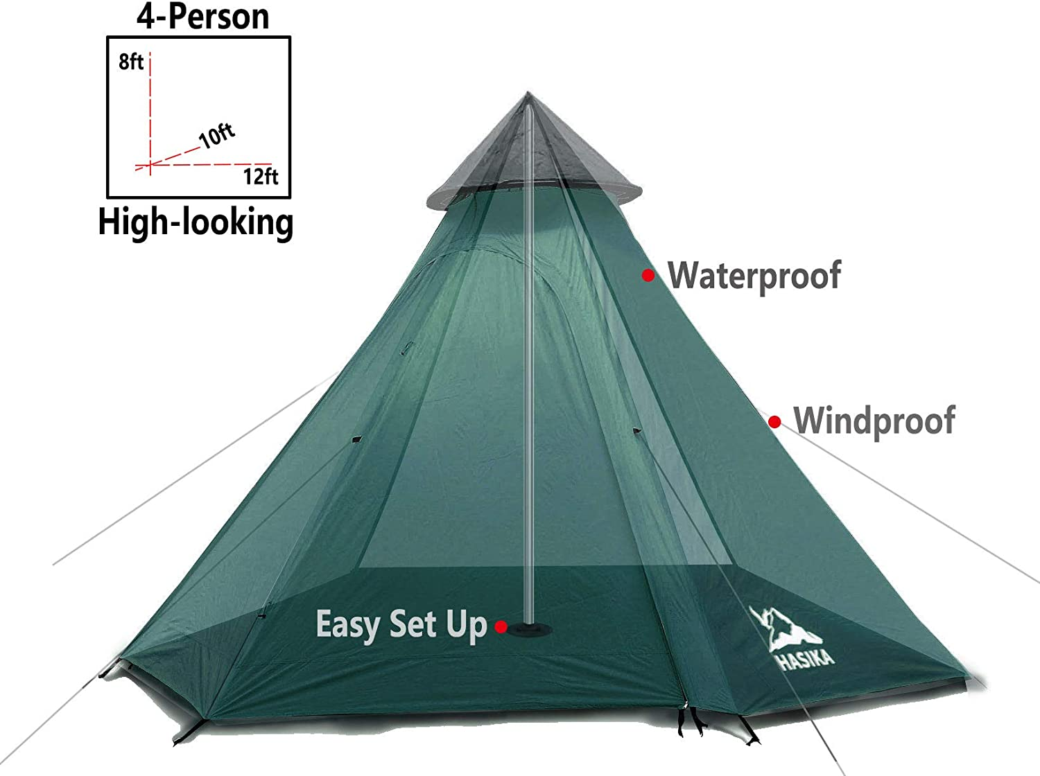 Teepee Camping Conical Tent with Screen Room for Family Camping Waterproof Windproof 4 Person Green 12x10x8ft