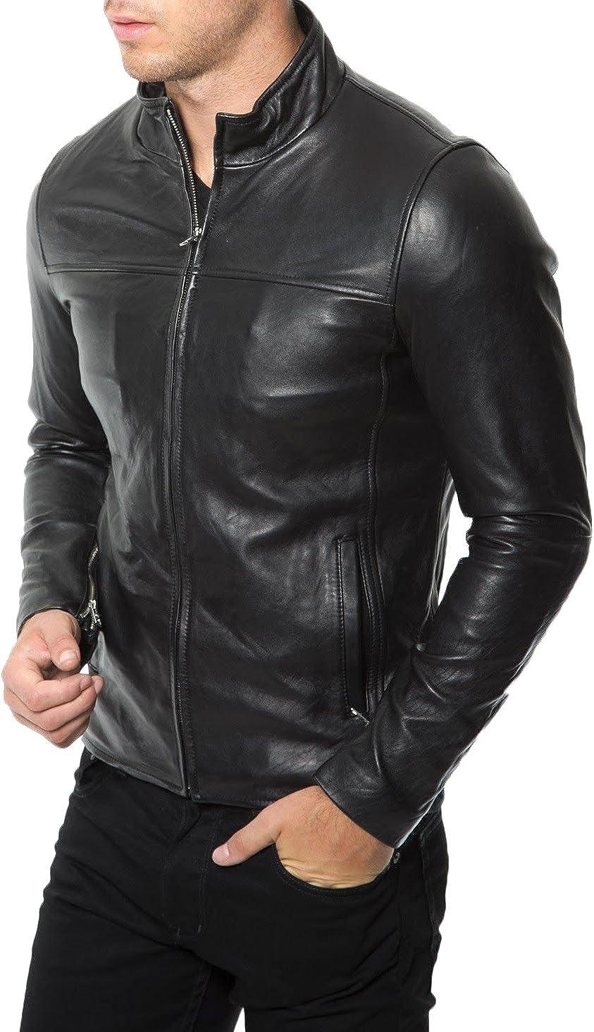 Kingdom Leather Mens Leather Jacket Slim Fit Biker Motorcycle Genuine Lambskin Jacket Coat X1469