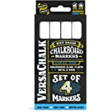 White Liquid Chalk Markers (4-pack) by VersaChalk - For Chalkboard Signs, Blackboards, Glass, Windows