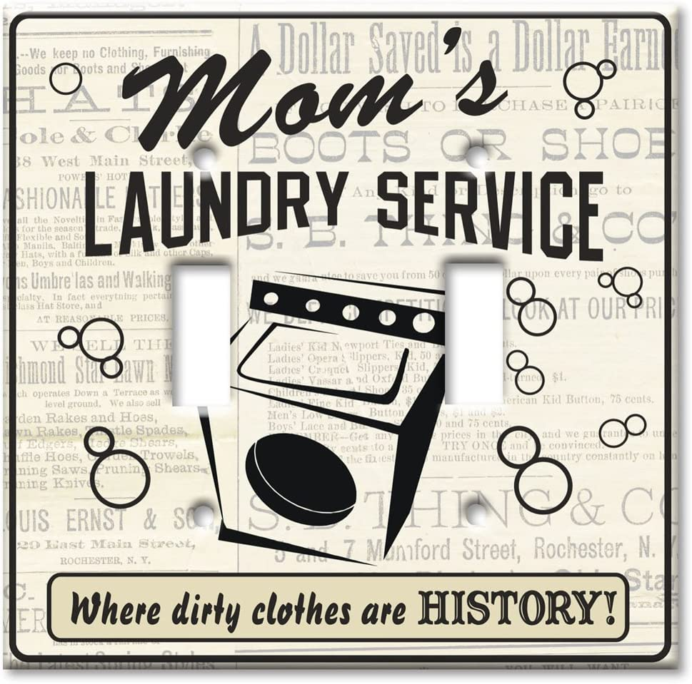 Art Plates - Double Gang Toggle OVERSIZE Switch Plate/OVER SIZE Wall Plate - Mom's Laundry Service