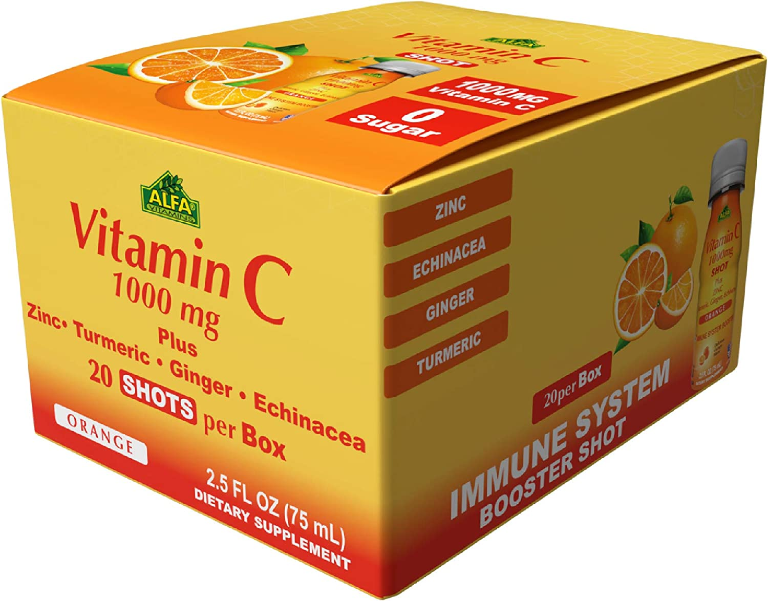 Vitamin C 1,000mg Shot by Alfa Vitamins - 20 Pack - Plus Zinc, Turmeric, Ginger, & Echinacea - Immune System Booster - Fight The Common Cold - Orange Flavor - 2.5 FL OZ per Bottle - 20 Pack